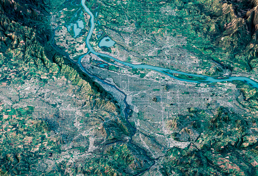 Multi-Layered Effect「Portland 3D Render Satellite View Topographic Map Horizontal」:スマホ壁紙(10)