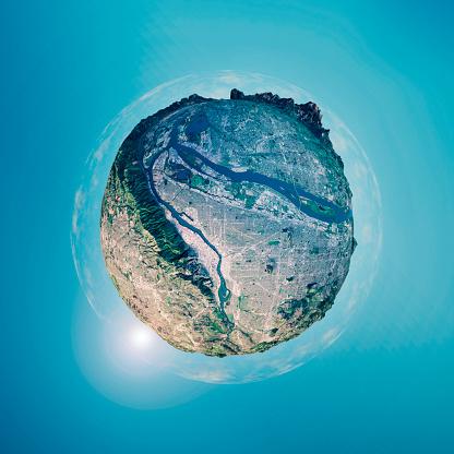 デジタル合成「ポートランド 3 D 小さな惑星の 360 度球体パノラマ」:スマホ壁紙(17)