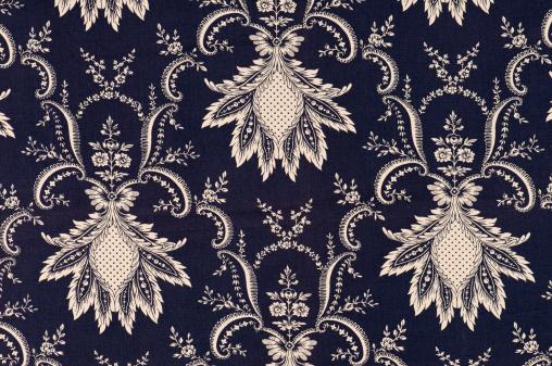 Floral Pattern「Nouveau Fleur Navy Close Up Antique Fabric」:スマホ壁紙(19)