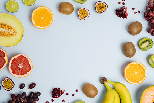 Banana「Fruit flat lay from above colorful food background」:スマホ壁紙(13)