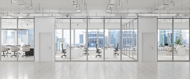 Corporate Business「Modern Large Empty Office Interior With Board Room, Office Desks, Chairs And Cityscape.」:スマホ壁紙(17)