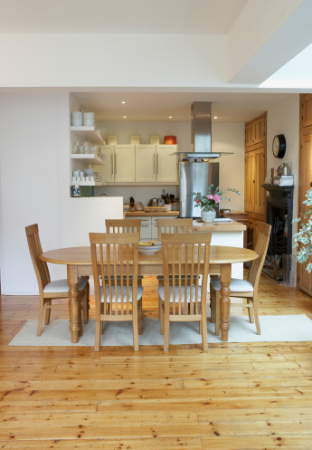 Dining Table「Empty kitchen and dining room with open floor plan」:スマホ壁紙(4)