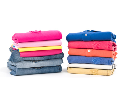 Folded「Casual clothes folded in pile on white」:スマホ壁紙(11)