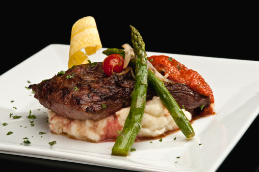 Course - Meal「Sirloin steak with mashed potatoes and asparagus」:スマホ壁紙(18)