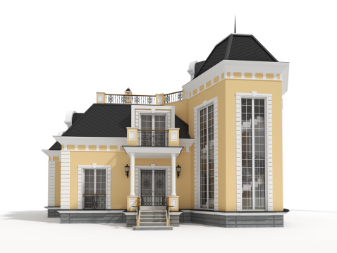 Architectural Cornice「3D classic house model isolated on white,front view」:スマホ壁紙(4)