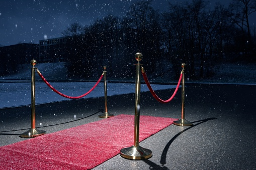 Hotel Reception「Red carpet on road, snowfall in winter」:スマホ壁紙(13)