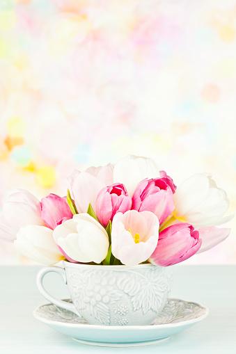 母の日「Teacup にチューリップと Copyspace」:スマホ壁紙(5)