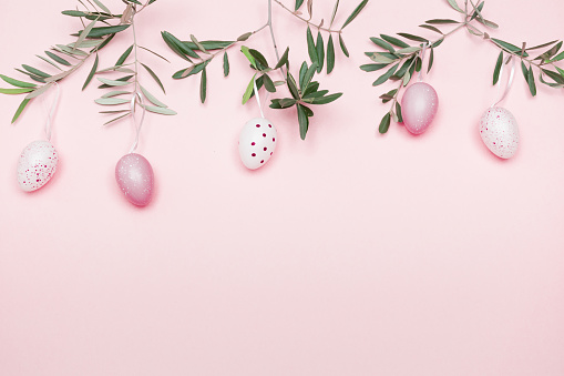 Easter「Easter Composition with Olive Branch and Easter Decoration on Pastel Pink Background」:スマホ壁紙(16)