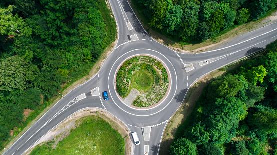 Road Marking「Traffic circle, roundabout - aerial view」:スマホ壁紙(5)