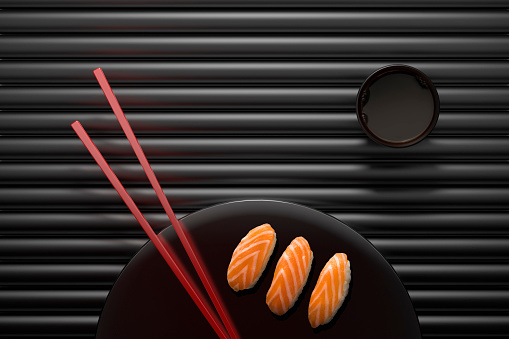 Soy Sauce「Chopsticks and sushi on round plate with dipping sauce」:スマホ壁紙(0)