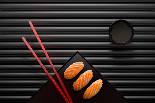 Soy Sauce「Chopsticks and sushi on square plate with dipping sauce」:スマホ壁紙(3)