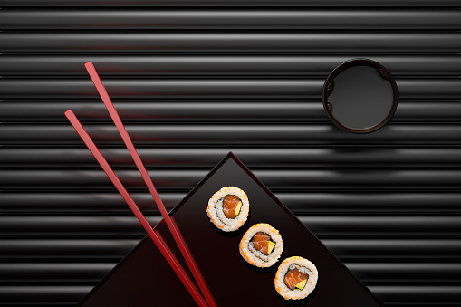 Soy Sauce「Chopsticks and sushi on square plate with dipping sauce」:スマホ壁紙(15)