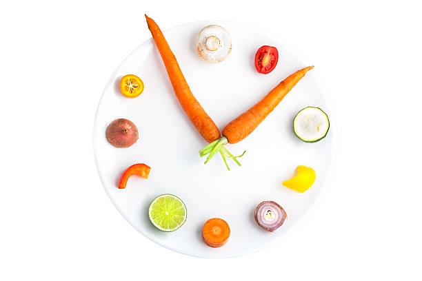 Time for food - clock made from assorted fruit & vegetables:スマホ壁紙(壁紙.com)