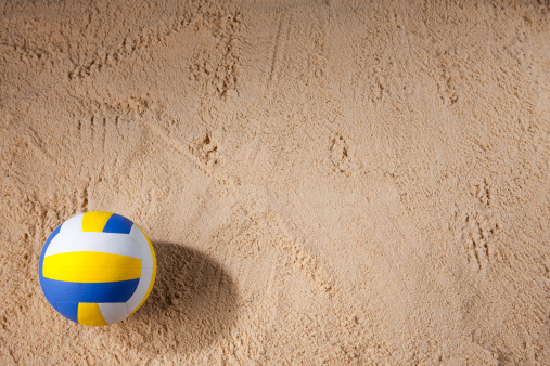 Volleyball「Beach volleyball sitting on the sand」:スマホ壁紙(5)