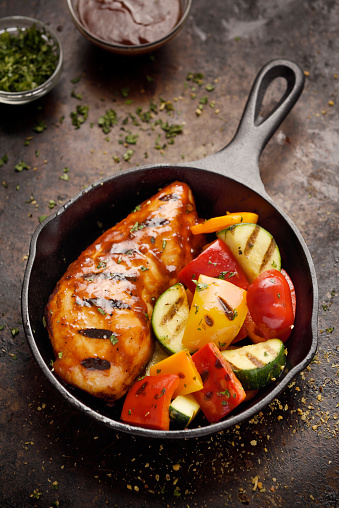Griddle「Barbecue grilled chicken breast and vegetables」:スマホ壁紙(0)