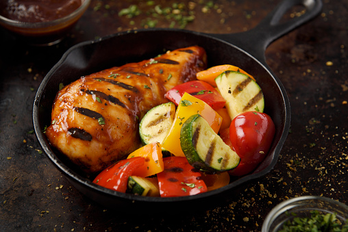 Griddle「Barbecue grilled chicken breast and vegetables」:スマホ壁紙(13)