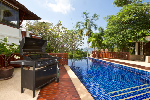 Barbecue Grill「Barbecue grill by the pool of a luxury house」:スマホ壁紙(15)