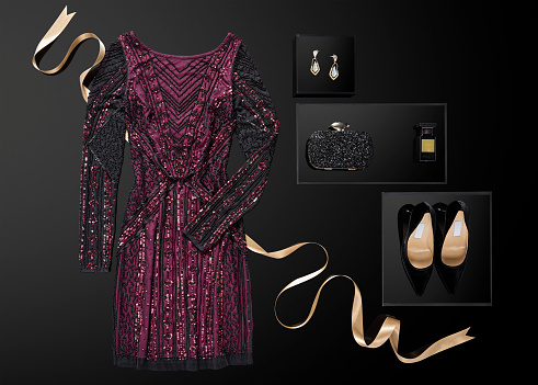 Formalwear「Sequin dress with personal accessories isolated on black background」:スマホ壁紙(1)