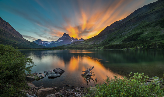 Log「Swiftcurrent Lake at Dawn」:スマホ壁紙(6)
