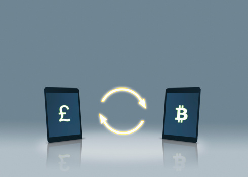 Bitcoin「Pound and bitcoin symbols on tablets」:スマホ壁紙(10)