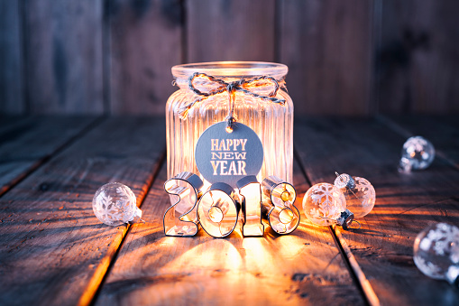 Rustic「New Year and Christmas decoration on old wood - Candle Jar Label Card」:スマホ壁紙(8)