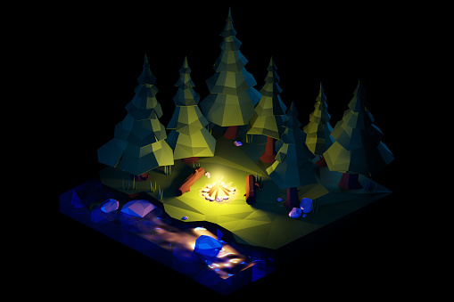 Cartoon「Night over the camping bonfire. Isometric low poly composition.」:スマホ壁紙(9)