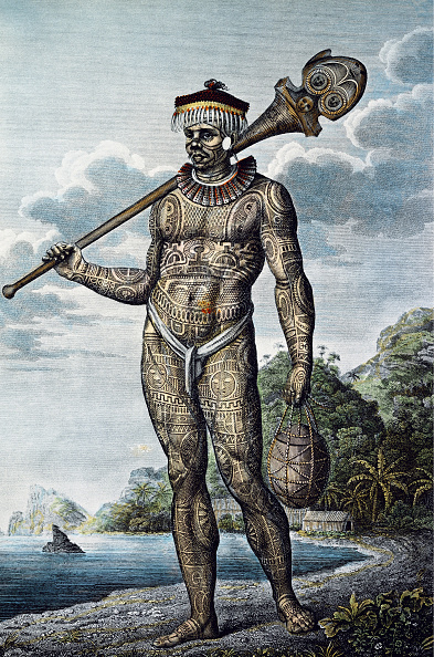 Pacific Islands「A Man From Nuku Hiva Island With Tattoos On His Body. From Atlas Of Krusensterns Circumnavigation,」:写真・画像(13)[壁紙.com]