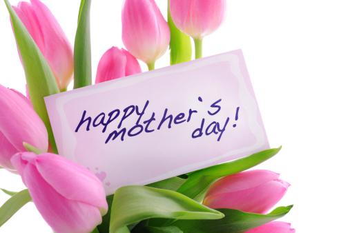 母の日「ピンクのチューリップと母の日のカード」:スマホ壁紙(16)