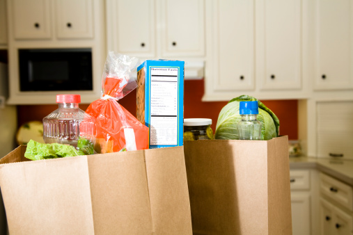 Domestic Kitchen「Food:  Grocery bags, sacks in home kitchen counter.」:スマホ壁紙(7)