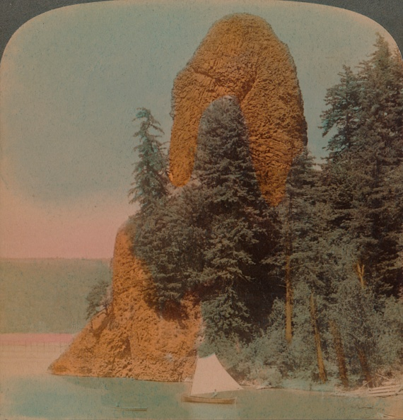 Basalt「Rooster Rock Curious Rock Formation Along The Columbia River Oregon 1902」:写真・画像(10)[壁紙.com]