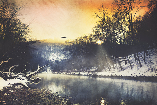 Atmosphere「Germany, winter atmosphere at sunrise, Wupper river near Remscheid, digitally manipulated」:スマホ壁紙(10)