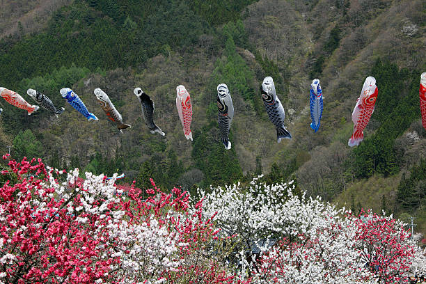 Carp Streamers Over Peach Trees:スマホ壁紙(壁紙.com)