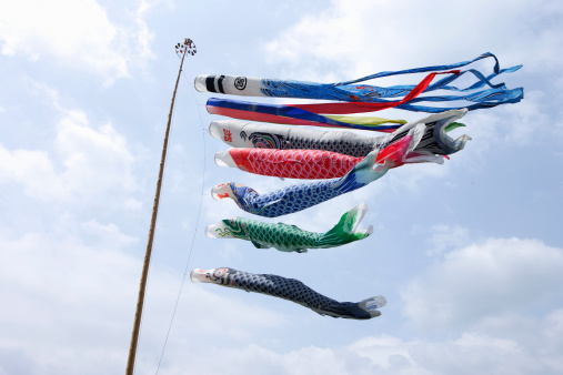 こいのぼり「Carp streamer blowing in wind, low angle view」:スマホ壁紙(18)