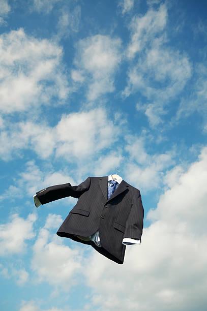 Empty Pinstripe Suit Floats in Clouds Blue Sky:スマホ壁紙(壁紙.com)