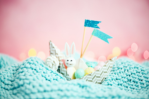 Easter Bunny「Handmade origami boat filled with tiny Easter eggs and Easter bunny」:スマホ壁紙(2)