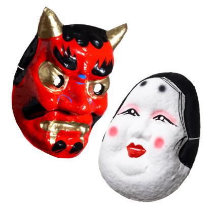 節分「Two Japanese masks, white background」:スマホ壁紙(9)