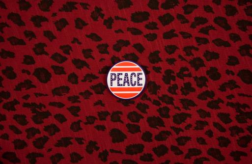 Leopard pattern「Peace badge on a red leopard tissue」:スマホ壁紙(19)