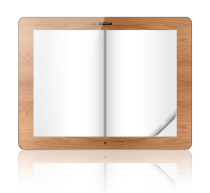 Touch Screen「Blank wood e-reader (Clipping path!) isolated on white background」:スマホ壁紙(6)