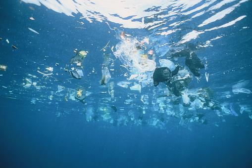 Dirty「Plastic garbage is swimming on rhe water surface」:スマホ壁紙(17)