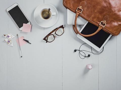 Girly「Overhead Business Angles still life of office desk」:スマホ壁紙(7)