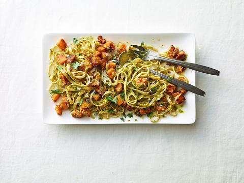Plate「Overhead butternut squash pasta on white」:スマホ壁紙(1)
