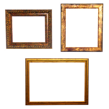 19th Century「Three Old Golden Frames Isolated」:スマホ壁紙(11)