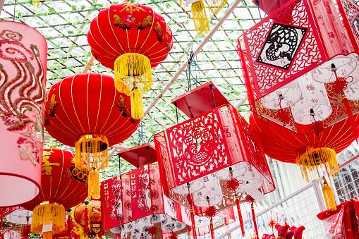 Chinese Lantern「Chinese New Year lanterns hanging from ceiling」:スマホ壁紙(17)