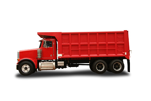 Construction Vehicle「Peterbult red toy dump truck isolated on white background」:スマホ壁紙(16)