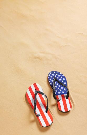 Flip-Flop「Stars and stripes flip flops on beach」:スマホ壁紙(8)
