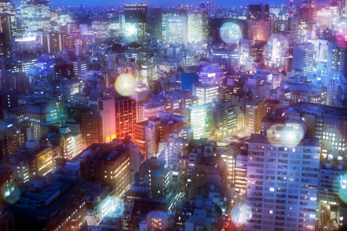 Defocused「Nightscape in Tokyo with a lot of glow」:スマホ壁紙(11)