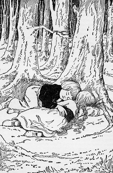 1900「Hansel and Grethel fall asleep in the woods」:写真・画像(0)[壁紙.com]