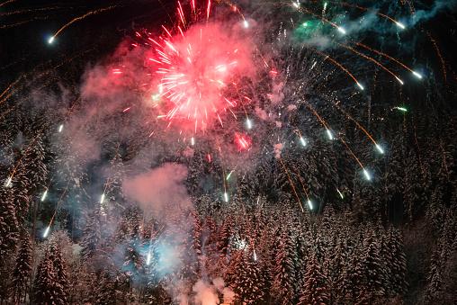 Firework - Explosive Material「Fireworks over snow-covered forest」:スマホ壁紙(10)