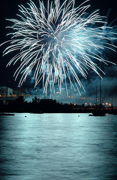 Fireworks Over Lake at Night:スマホ壁紙(壁紙.com)