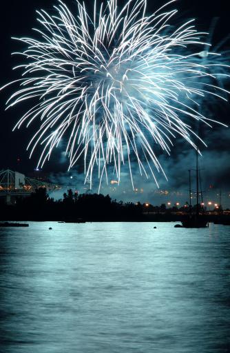 お祭り「夜の湖の上に花火」:スマホ壁紙(2)